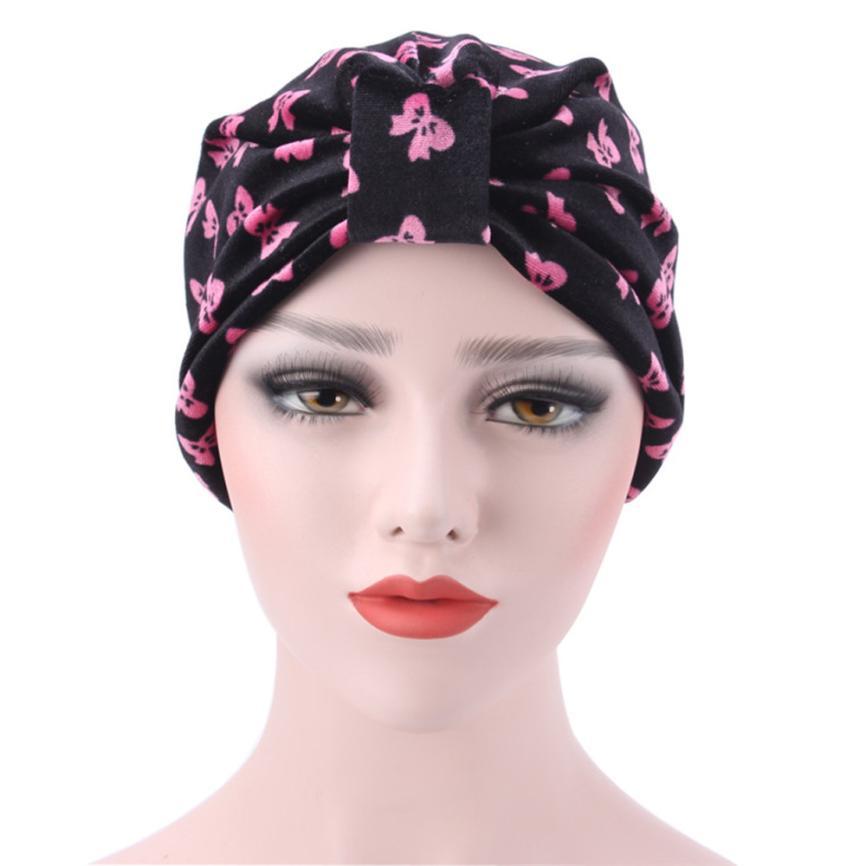 цена на Women Elastic Cap Turban Muslim Ruffle Cancer Chemo Hat Beanie Scarf Turban Head Wrap Cap High Quality mesh Large Flower Turban