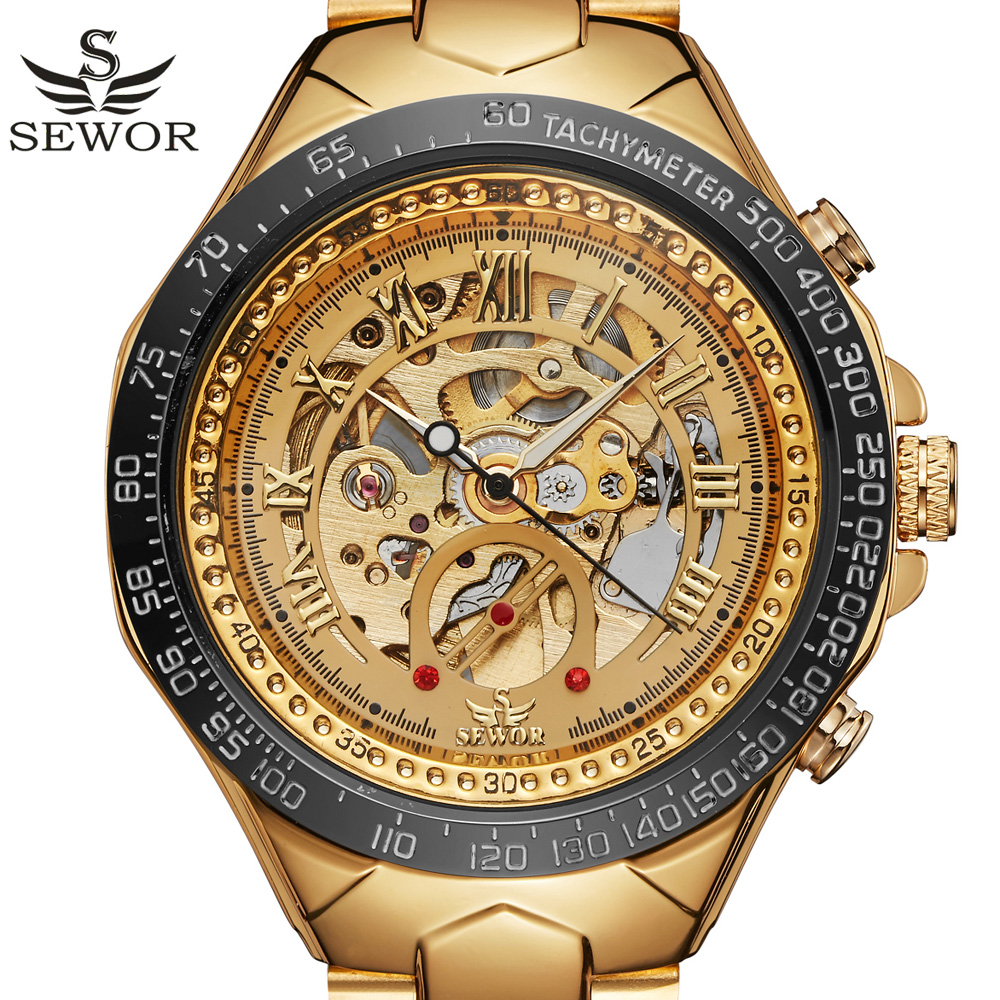 SEWOR Skeleton Mechanical Watch Gold Watches Top Brand Luxury Clock Automatic Watch Stainless Steel Male Wristwatch sewor c1257