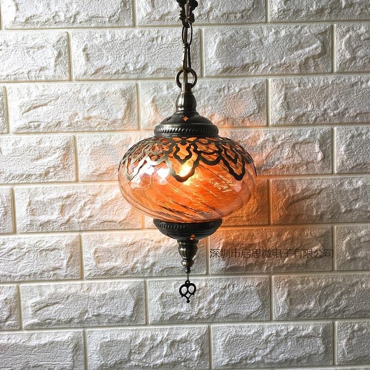 Image 3 - Newest style Turkey ethnic customs Hollow carving lamp Romantic cafe restaurant bar tree pendant light Streamline glass lighting-in Pendant Lights from Lights & Lighting