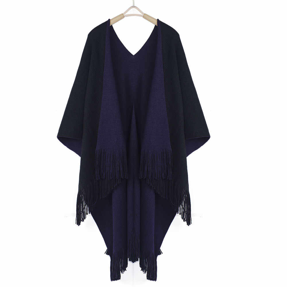 35& Women Shawl Scarf Winter Warmer Fashion Knitted Solid Luxe Cashmere Poncho Capes Shawl Cardigans Sweater Coat Invierno Mujer