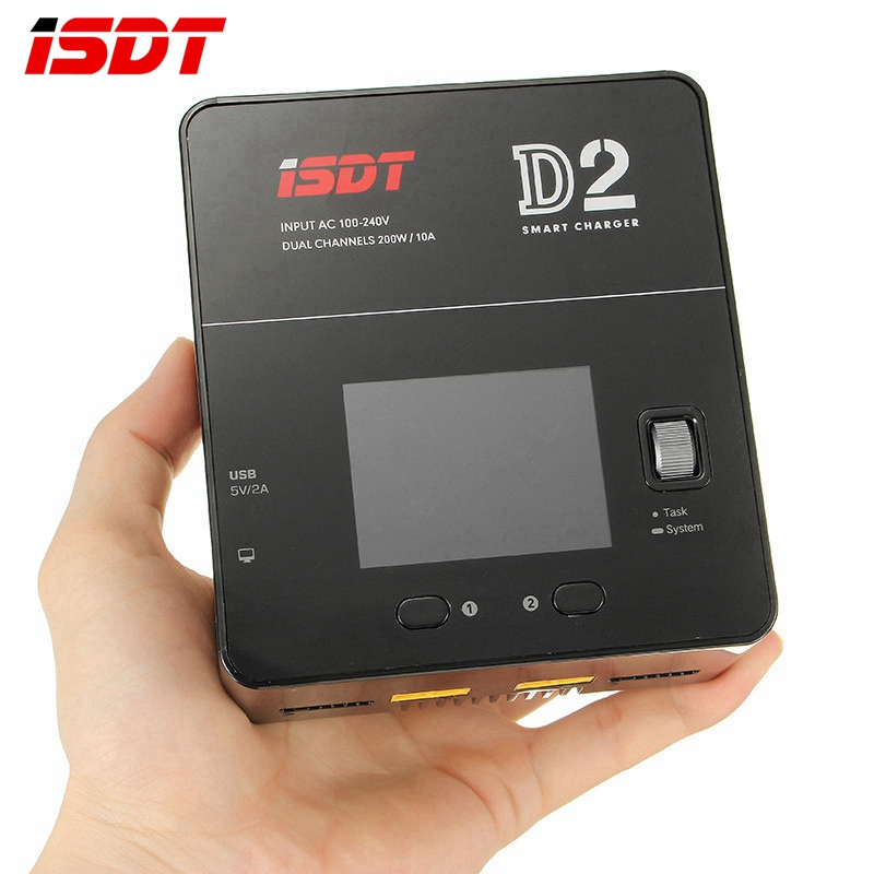 In Stock ISDT D2 200W 20A AC Dual Channel Output Smart Lipo Battery Balance Balancing Charger For RC Toys Charging VS T8 SC-620 skyrc d100 2 100w ac dc dual balance charger 10a charge 5a discharge nimh lipo battery charger twin channel charge