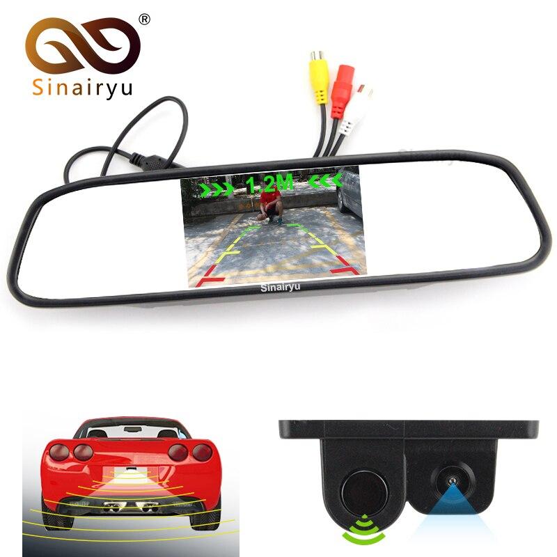 3 in1 alarme sonore sauvegarde inverse LED capteur de stationnement avec voiture CCD caméra de recul + 4.3 LCD voiture miroir moniteur