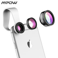 Super MFE1N Mpow 3 in 1 Fish Eye Lens 180 Degree Supreme Fisheye 0.67X Wide Angle 10X Macro Phone Lens with Clip for iOS Android