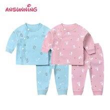Пижамы для новорожденных комплект из топа и штанов для малышей, хлопковая одежда для сна с разрезом по бокам, плотно облегающая одежда для сна для малышей костюм для сна с длинными рукавами