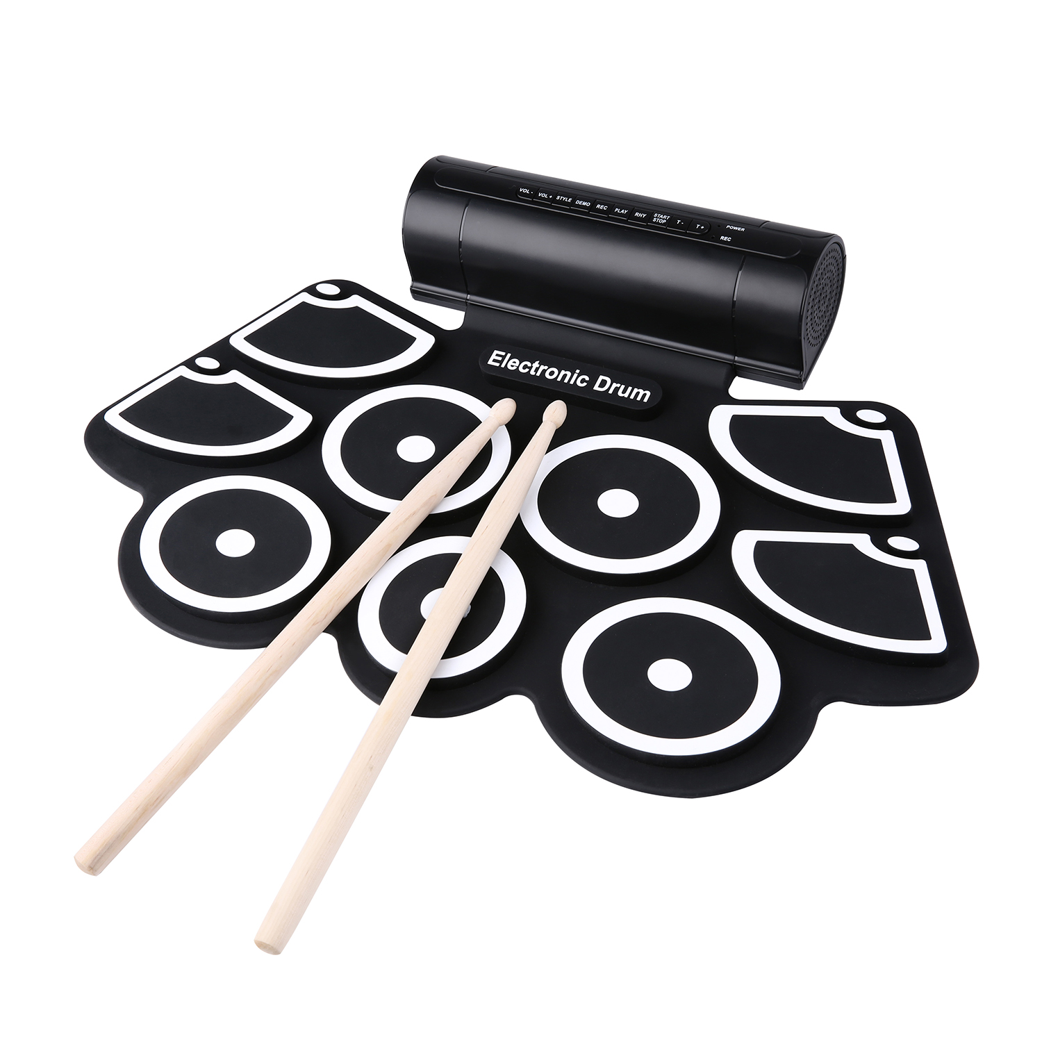 XFDZ Portable Roll Up Electronic USB MIDI Drum Set Kits 9 Pads Built-in Speakers Foot Pedals Drumsticks USB Cable For Practice