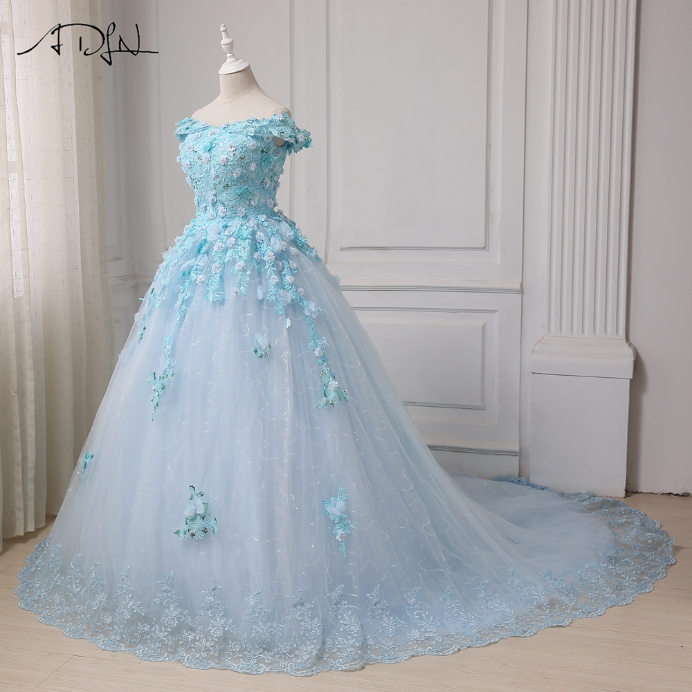 ADLN 2017 Robe De Mariage Princess Luxury Flowers Sequined White ...
