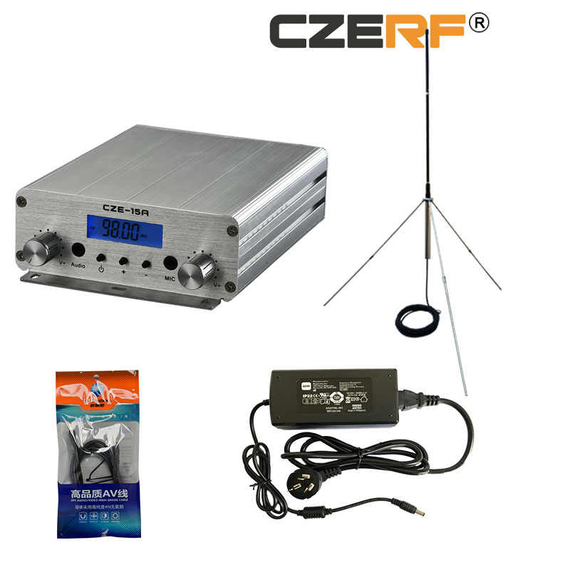 Hot CZH-15A CZE-15A FU-15A 15W FM stereo PLL broadcast transmitter FM exciter 88Mhz - 108Mhz + GP 1/4 wave antenna + PowerSource