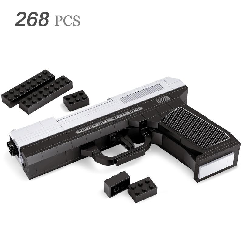 MP-45 SAWT Power Pistol GUN Weapon Arms Model 1:1 3D 268pcs Model Brick Gun Building Block Set Toy Gift For Children