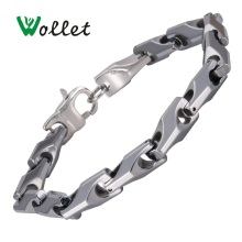 Wollet Jewelry Tungsten Bracelet Bangle For Men Women Silver Color No Plating Simple Design Chain Link
