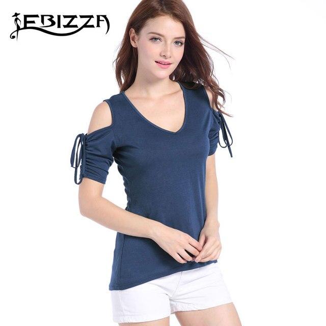 171990fbbc4 Ebizza 2017 Women Sexy V Neck Tops European Summer Cold Shoulder Shirt  Casual Female T-Shirt Red Black Blue Amy Green