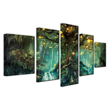 HD Printing Canvas Wall Art 5 Panels Posters Painting Luminous forest for Bedroom Home Decor Modular Beautiful Artwork Framework