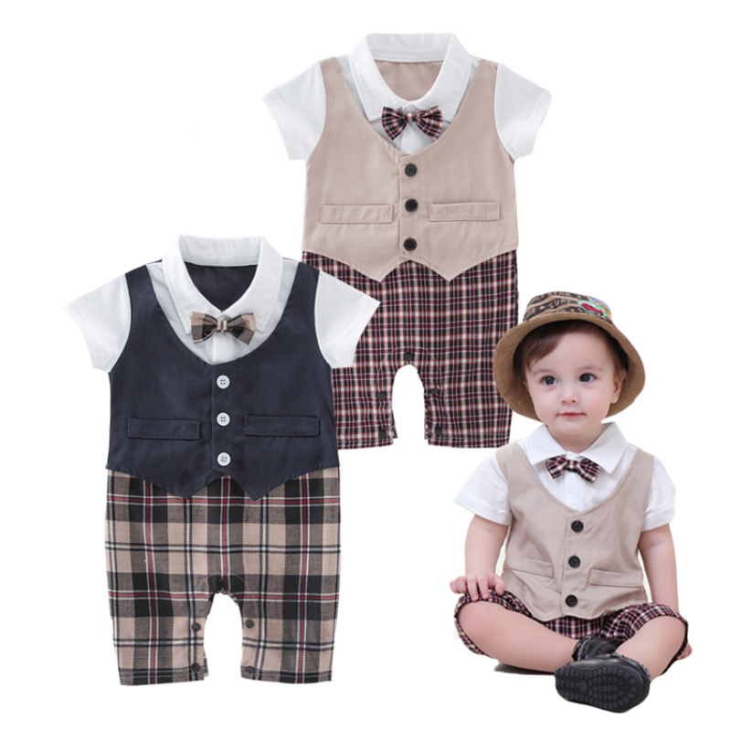 e4fc3ece56d Baby Boys Infant Clothes 100%Cotton summer Short sleeve Lattice series  Romper Outfits gentleman bowknot bebes clothing
