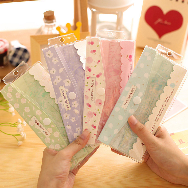 4 PCS New Kawaii Plastic School Rulers Straightedge & Right-angled&Isosceles Right-angled Triangle & Protractor Patchwork Ruler