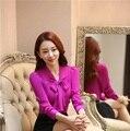 Novedad Púrpura Primavera Otoño Adelgazan Las Camisas de Moda Blusas de Manga Larga Para Las Mujeres de Negocios Blusa de Las Señoras Oficina Blusa Mujer Tops