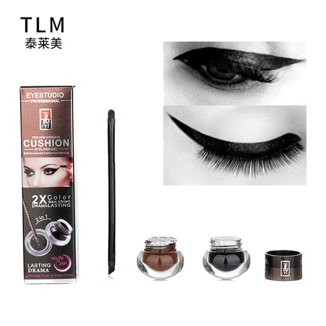 5549428901d new hot Best Seller 2 in 1 brown + Black Gel Eyeliner Make Up Waterproof  Cosmetics