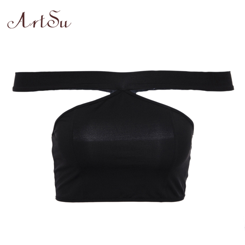 ArtSu Slash Neck Off Shoulder Crop Top Black Tank Top Sexy Fitness Women Short Tops Backless Clubwear Summer Top ASVE20242