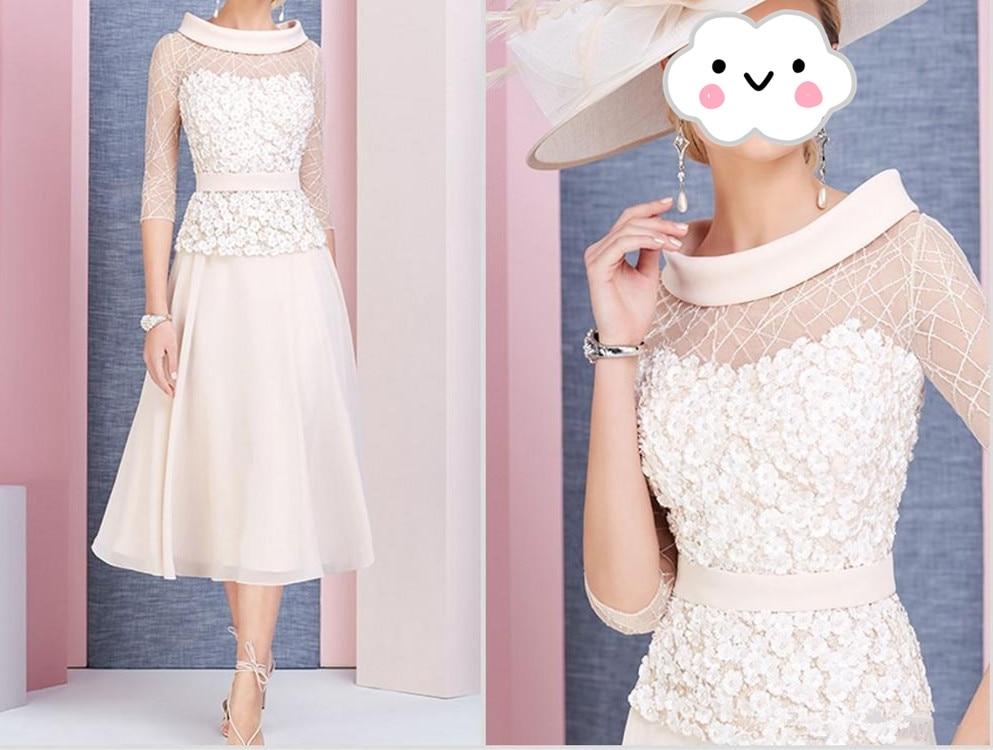 Mother Of The Bride Dresses Vestido De Madrinha Scoop Neck 3/4 Long Sleeves Prom Dress Tea Length Lace Formal Wedding Guest Gown