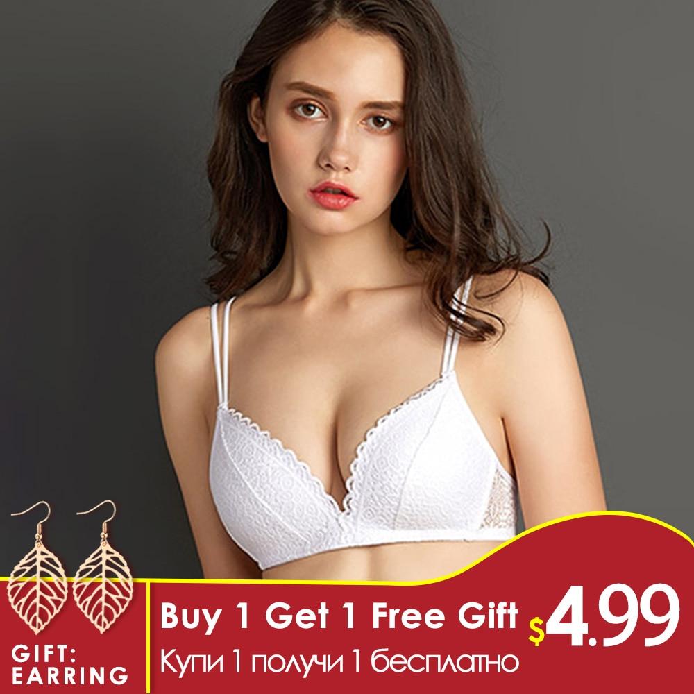 Perfering Schwarz Bh Draht Kostenlose Push Up Sexy Frauen Bhs Spitze Bralette Dessous Kleine Brust Passt EINE B C Bh weibliche Unterwäsche