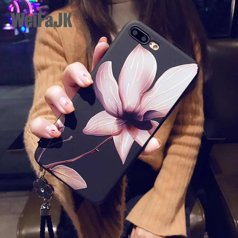 WeiFaJK Flower Phone Case for iPhone 6 6s 7 Plus 8 Plus X Case Silicone Fashion Women Soft Protection Cover for iphone 8 7 Case(China)