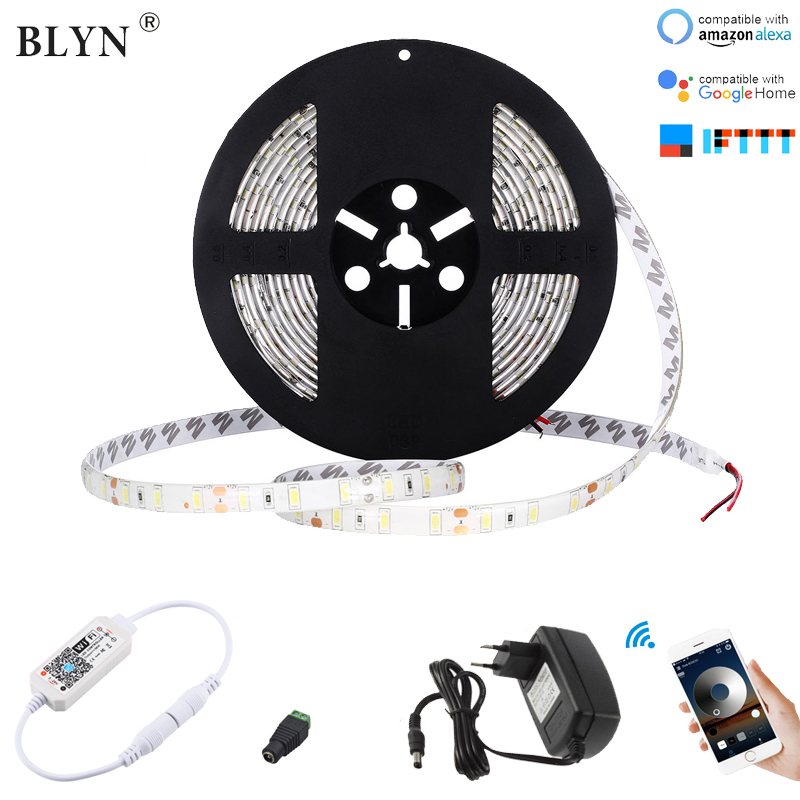 5M 10M 5630 LED Strip Dimmable Warm White Sunlight White LED Strips Waterproof Diode Tape With WIFI Smart Dimmer 12V Adapter