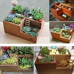 Wooden Garden Herb Planter Window Box Trough Pot Succulent Flower Plant Bed exquisite plant pot