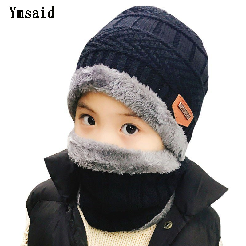 2pcs Ski Hat Child Scarf Warm Winter Hats For Boys Girls Knitted Hat Thicken Fleece Lining Bonnet Skullies Beanies