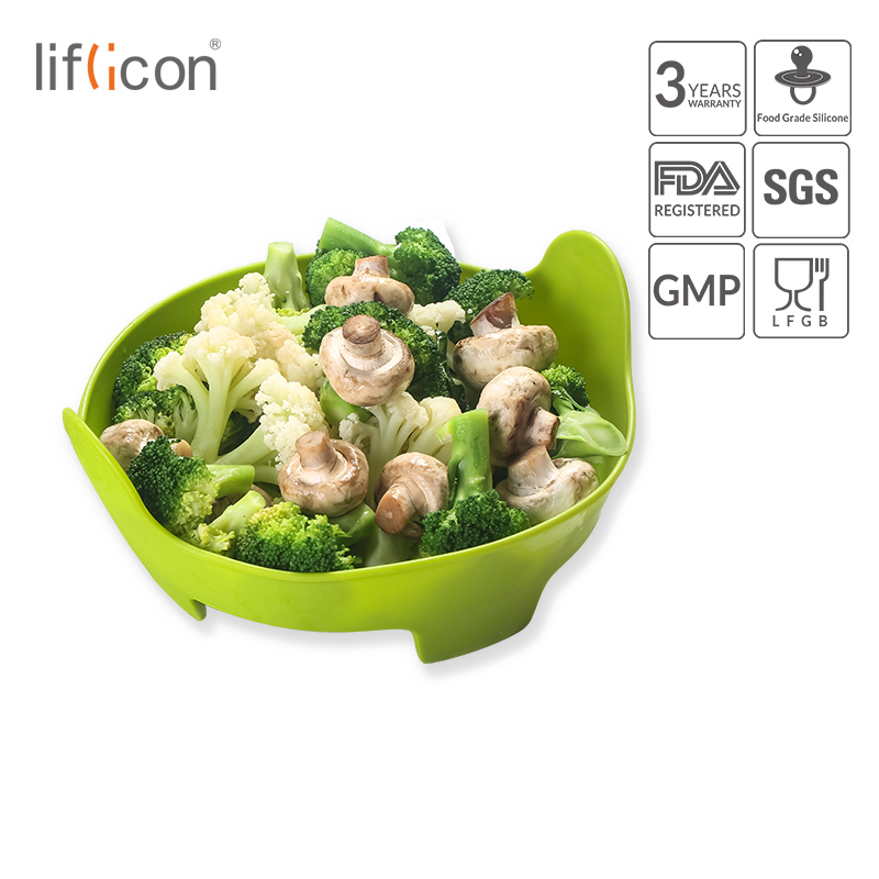 Liflicon Food Grade Silicone Food Steamer For Vegetable Fish Meat Microwave Safe Steamer Heat Resistant Kithcen Accessories