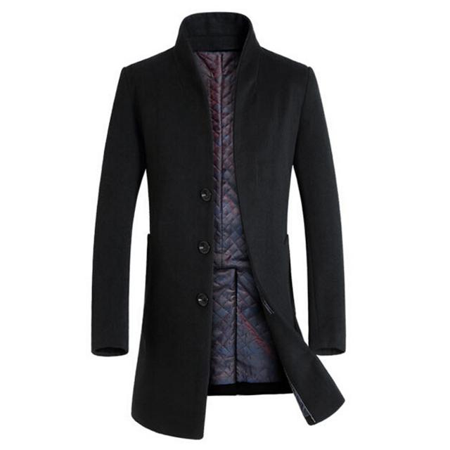 Venda quente Casaco de Lã dos homens de Inverno Seções Longas de Lã Grossa Casacos Casaco masculino Dos Homens Gola Casuais palto Peacoat sobretudo