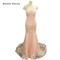 Sexy See Through Blush Pink Mermaid Lace Beaded Short Sleeve Evening Dresses 2017 Long Formal Party Prom Gowns Abendkleid BE105