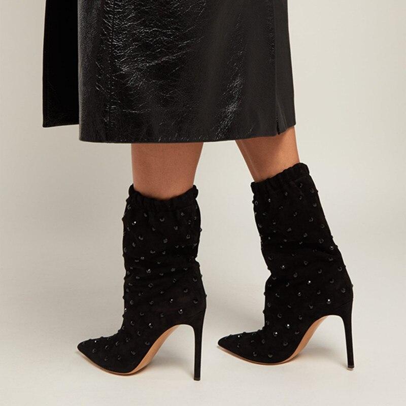 De Tenue Stiletto Nouveau Daim Chaussons Pour Sur Bottines Cloutés Chaussures Fête Mince Rivets Noir Bout Sexy Slip En Hauts Femme Pointu Talons Femmes nOqAO7wRg