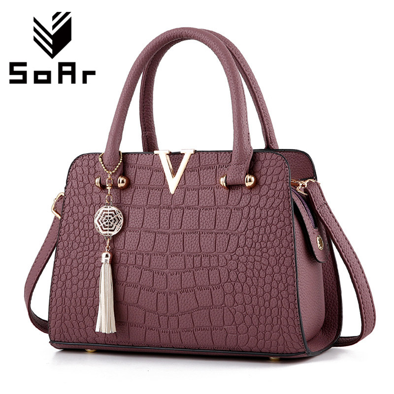SoAr New Crocodile Pattern Women Bag Handbags Women Messenger Bags Crossbody Shoulder Bags Ladies Tassel Women Leather Handbags soar women leather handbags large women bag shoulder bags ladies brand alligator crocodile pattern hand bags tote female blosa 3
