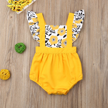 Pudcoco Summer Newborn Baby Girl Clothes Fly Sleeve Sunflower Print Romper Jumpsuit One-Piece Outfit Sunsuit Summer Clothes emmababy summer newborn baby girl clothes sleeveless striped bowknot strap romper jumpsuit one piece outfit sunsuit clothes