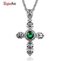 Szjinao Wholesale Promotion 925 Sterling Silver Cross Pendant Authentic Fashion Emerald Carved Antique Jewelry