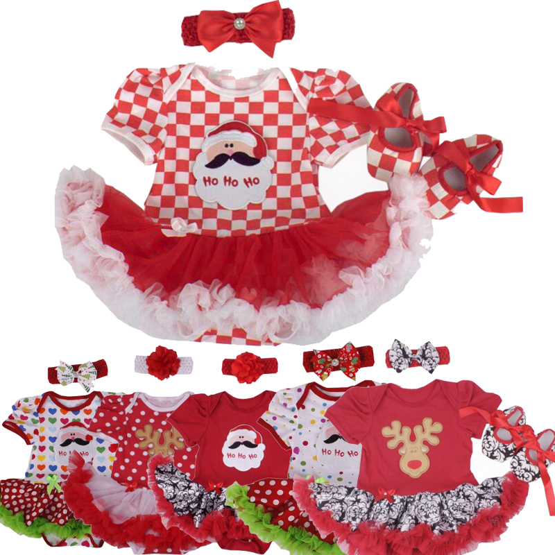 Christmas Baby Girl Infant 3pcs Clothing Sets Suit Santa Claus Romper Dresses/Jumpsuit Xmas Bebe Party Birthday Costumes Vestido baby girl infant 3pcs clothing sets tutu romper dress jumpersuit one or two yrs old bebe party birthday suit costumes vestidos