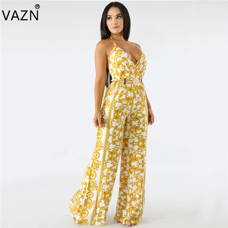 VAZN 2018 summer 2-colors deep v-neck jumpsuits women spaghetti strap jumpsuits ladies hollow out wide leg long jumpsuits G0110