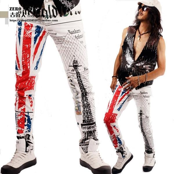 2015 new jeans, Fashion jeans, men jeans cotton British Flag Printed jeans  men trousers, Z35