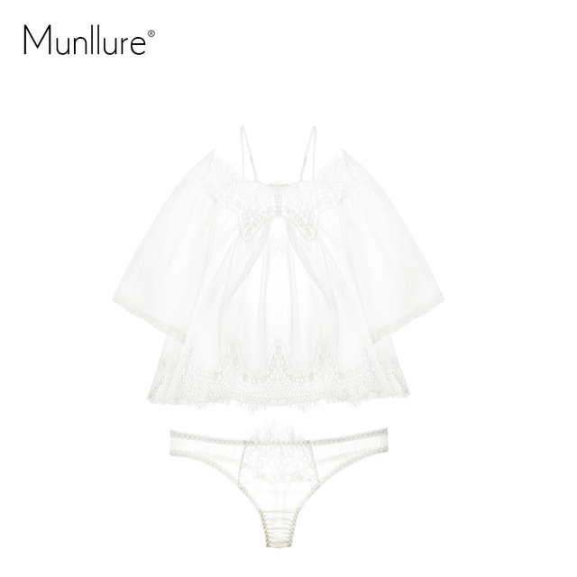 Munllure 2019 New Bohemian Lace Strapless Sexy Women's Pajamas Women Eyelashes Straps Lingerie Set Sleepwear Through Blouse 6