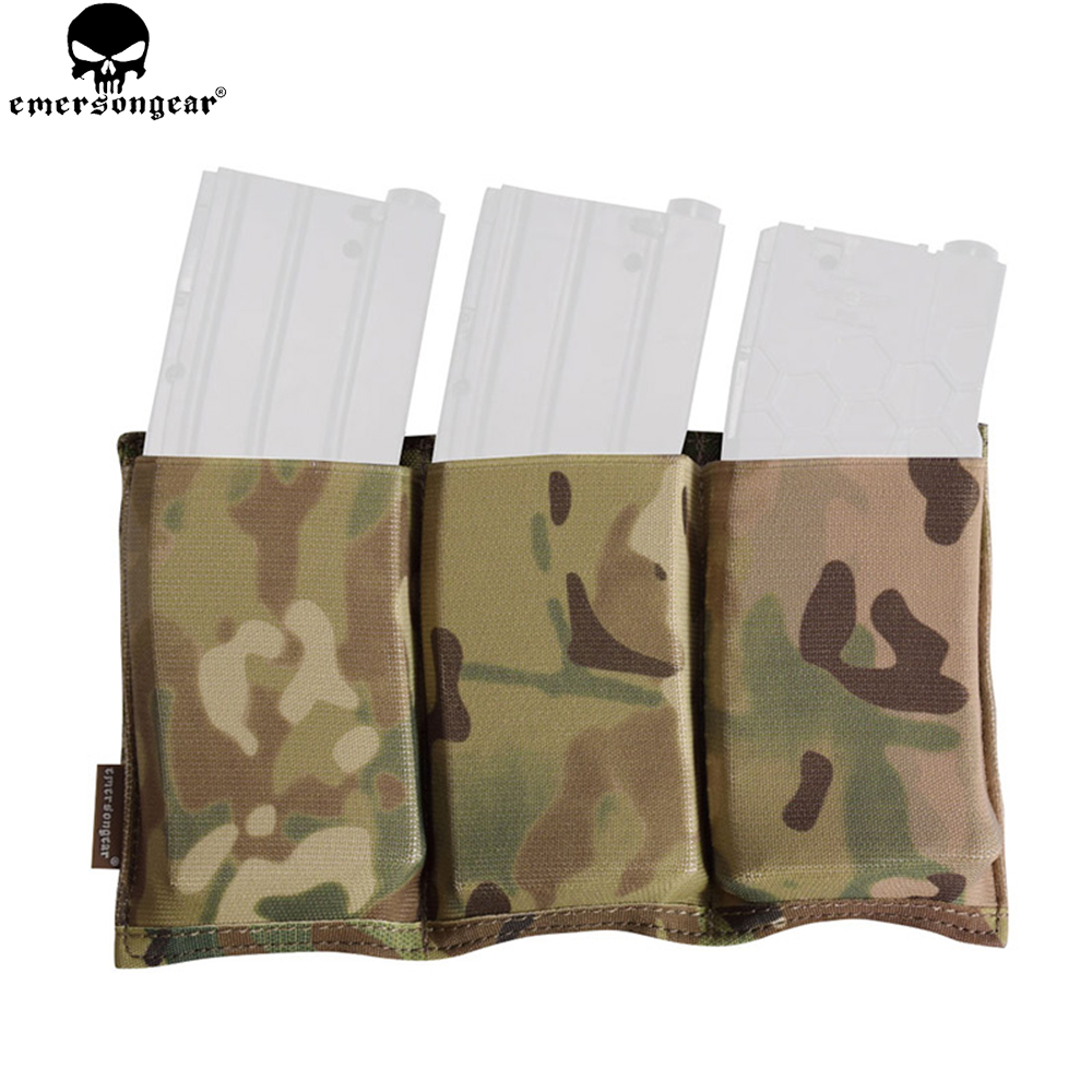 EMERSONGEAR Triple M4 Mag Pouch Tactical Molle Rapid Reloading Magazine Pouch for Airsoft Wargame Gear Painball Hunting EM2388