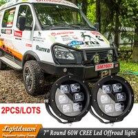 Pair 60Watts 7 Inch Round 12V 24V LED WORK LIGHT SPOT FLOOD BEAM Headlights FOR OFFROAD