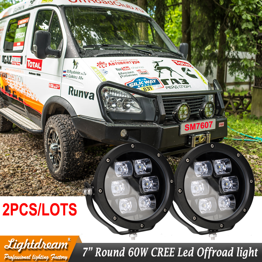Pair 60Watts 7 inch Round 12V 24V LED WORK LIGHT SPOT FLOOD BEAM Headlights FOR OFFROAD Truck 4WD ATV SUV TRACTOR DRIVING LIGHTS