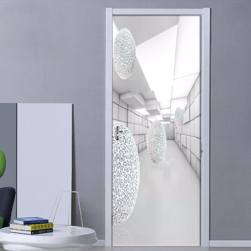 PVC Self-Adhesive Waterproof Door Sticker Modern 3D Stereo Space Wallpaper Living Room Bedroom Door Stickers Home Decor 3D Mural