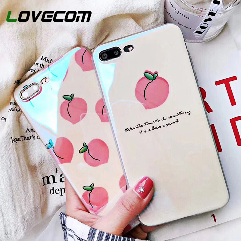 LOVECOM Blu-Ray Cases For iPhone XS Max XR XS X 6 6S 7 8 Plus Cute Fruit Pink Peach Letters Soft IMD Phone Back Cover Coque Gift image