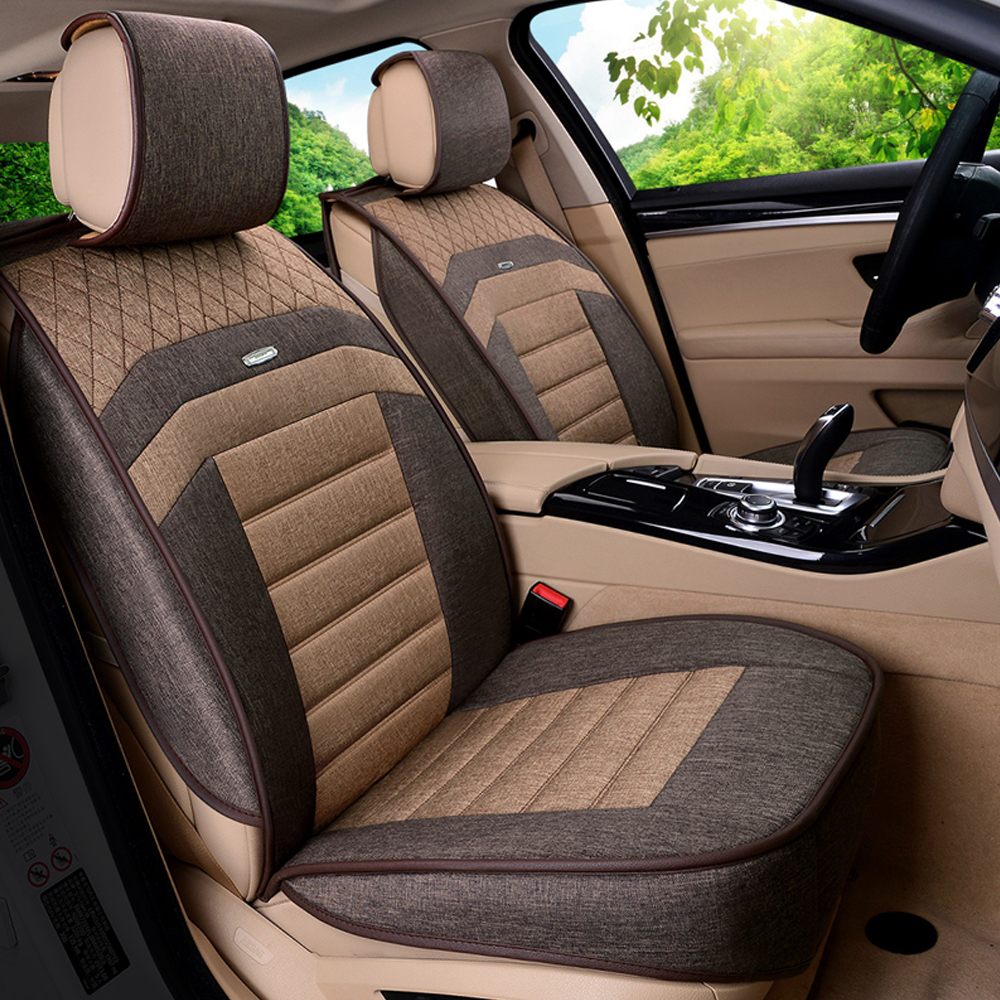 Car interior brown - 9pcs Interior Accessories Automobiles Seat Covers Super Breathable Linen Fabric Car Seat Cover Car Styling