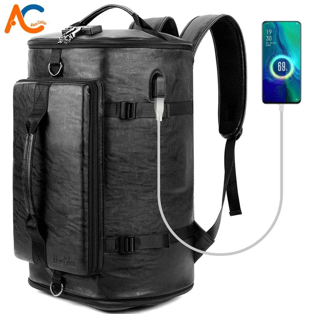 Alena Culian Anti-theft Leather Mens Travel Backpack With Password Lock Male Functional USB Charge Bagpack Fitness Bag For MenAlena Culian Anti-theft Leather Mens Travel Backpack With Password Lock Male Functional USB Charge Bagpack Fitness Bag For Men