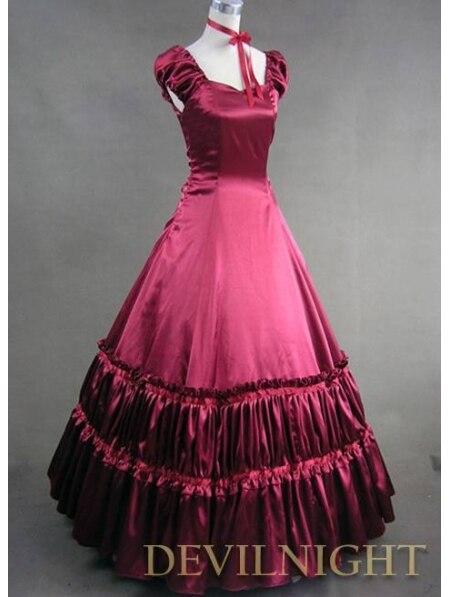 Элегантный Красный Коротким Рукавом Классический Готический Викторианской Платье Стили - Цвет: Красный