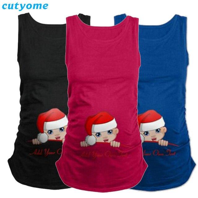 a43365d5396 Grossesse femmes chemise coton sans manches noël bébé imprimé réservoir hauts  T-Shirt grossesse T