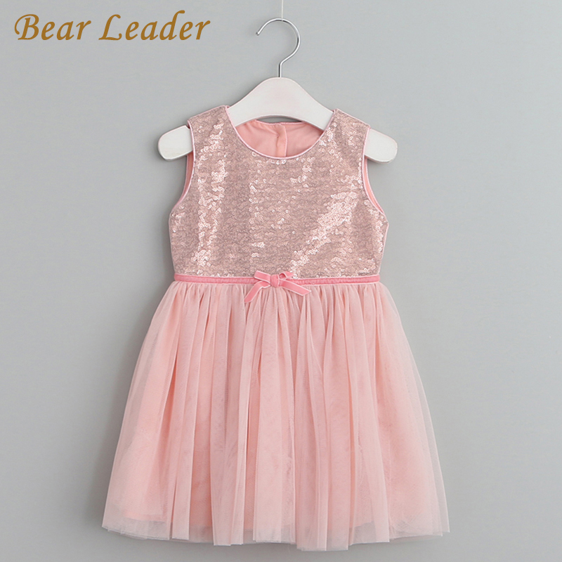 Bear Leader Girls Dress 2017 New Casual Style Girls Clothes Children Clothing Cute Sleeveless Solid Bow Voile Princess Dress3-9Y bear leader girls dress 2016 new summer style party dress stella the swallow embroidered sleeveless dress girls princess dress