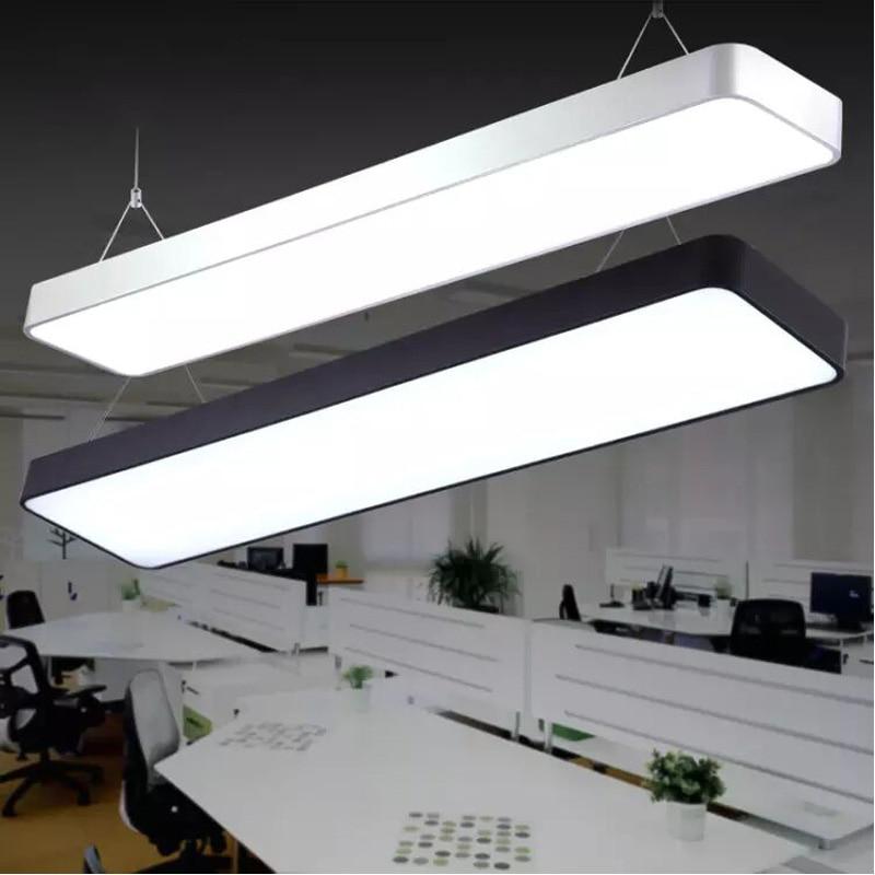 Office chandeliers led studio meeting room restaurant modern simple fillet creative rectangular light hanging line lights led цена
