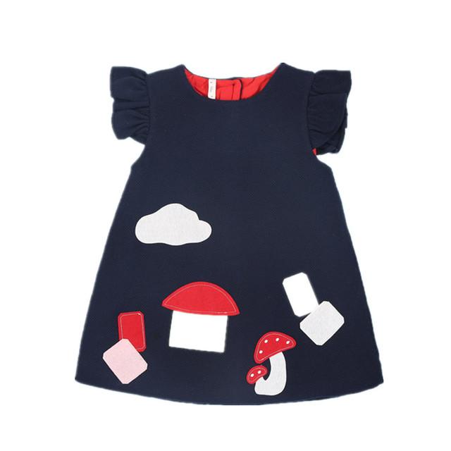 Comercio al por mayor 5 unids/lote Bebé vestido de fiesta de cumpleaños vestidos de las muchachas del algodón ropa de bebé recién nacido niño ropa de niña de moda 3 colores 0-2 T