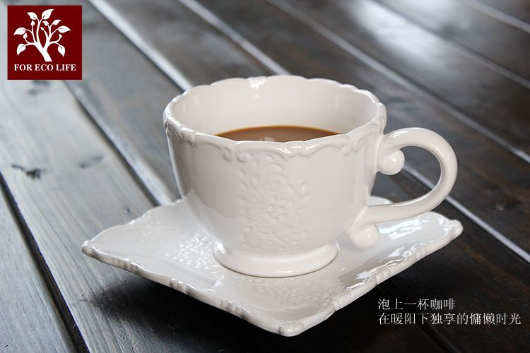 US $23 5 |Brand high quality western cups+saucer set with double ears  handgrip white ceramic afternoon milk tea coffe cups tray drinkware-in  Coffee